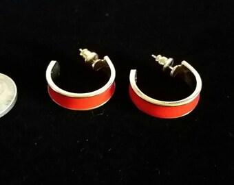 80's 90's Red Hoop Earrings Vintage Goldtone Metal Earrings