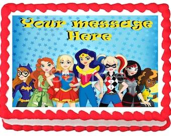 SUPERHERO GIRLS image Edible cake topper party decoration
