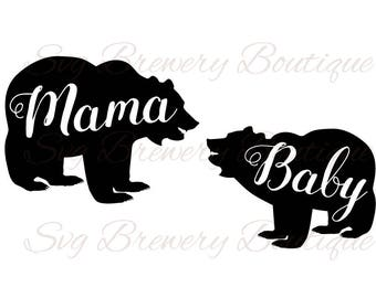 Mama bear, baby bear SVG (layered), PNG, DXF, Pdf cricut, silhouette studio, vinyl decal, t shirt design, scrapbookin, stencil template