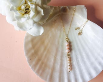 Gardenia necklace with rose coral, gold filled chain.