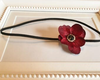 Delicate Flower Headband with Vintage Rhinestone Center