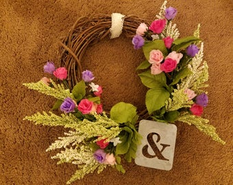 Floral Grapevine Wreath with metal Ampersand sign; perfect for Mother's Day!