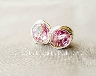 Sterling Silver, Minimalist earrings, Minimalist Jewelry, Crystals Studs, Light Amethyst earrings, June birthstone, Gifts for her Under 30