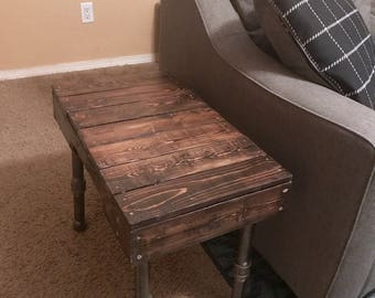 Reclaimed Wood Side Table With Galvanized Pipe Legs
