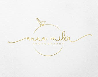 Bird Logo Photography Wedding Planner Gold Premade Script And