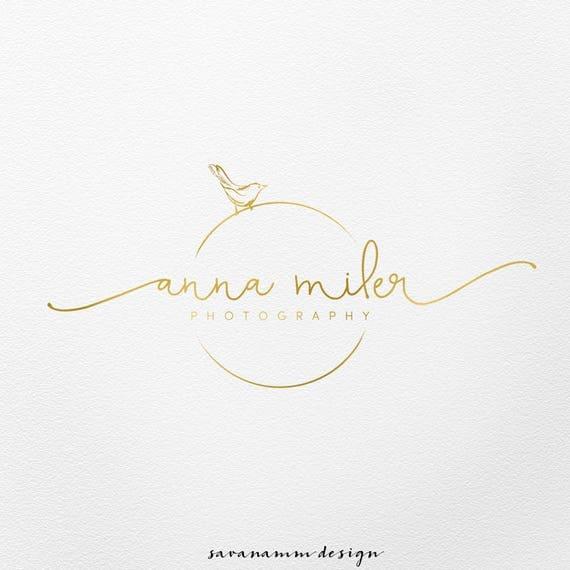 Bird Logo Photography Wedding Planner Gold