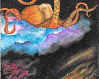 Space Octopus Print