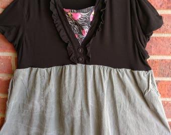 Black ruffled tunic