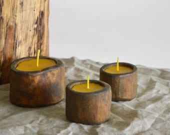 Natural Beeswax Candles in wood log // dark wood log candle // big beeswax tealight candle // Birthday candle gift // Set of 3 Candles