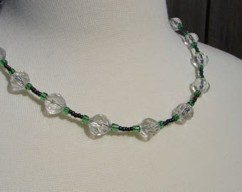 Classy Clear and Green Beaded Necklace