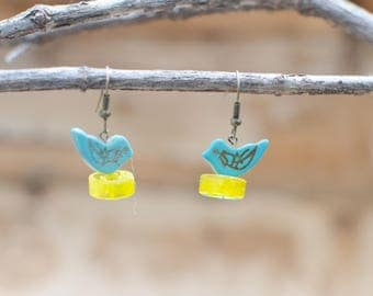 Nesting Sparrow, Blue Sparrow, Blue Bird, Bird Earrings, Sparrow Earrings, Car Earrings, Wheel Earrings, Upcycled Earrings, by Up From Bones