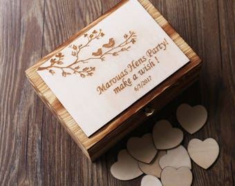 Personalized Wooden Hearts Wedding Guest Book Guest Book Box