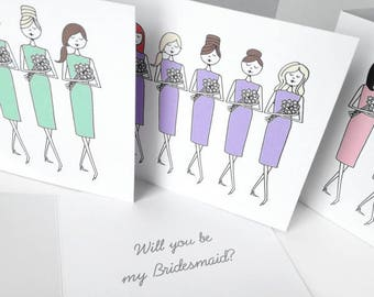 Bridesmaid cards, Custom personalized bridesmaid invitations, Will you be my bridesmaid or Thank you for being my bridesmaid