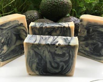 Avo-charcoal facial bar,                      natural soap, avocado soap, face soap, avocado charcoal soap, sensitive skin soap