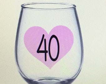 40 wine glass. 40th wine glass. 40th birthday gift. 40th birthday wine glass. 40 and fabulous wine glass. Forty wine glass. Gift for 40