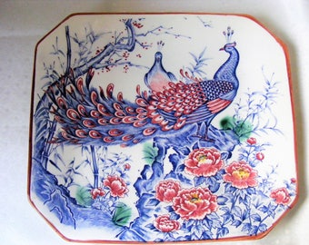 Asahi peacock plate, Vintage Japanese, Display plate, cobalt blue peacock, French vintage, label Japon 1930s, Collectors, housewarming gift