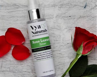 Vya Naturals Rose Water Facial Toner- 100% Natural Rose Water Mist, Alcohol Free - Hydrating & Calming Treatment for All Skin Types