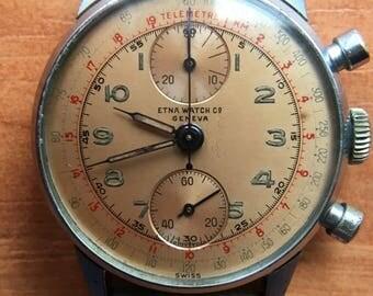 "Swiss Chronograph Vintage ETNA WATCH Co. Geneva, ""Telemetre"","