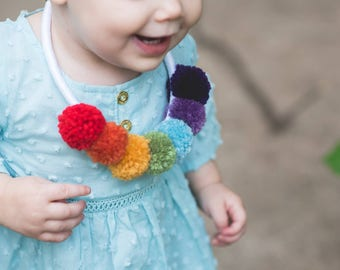 Rainbow Pom Necklace - Bright