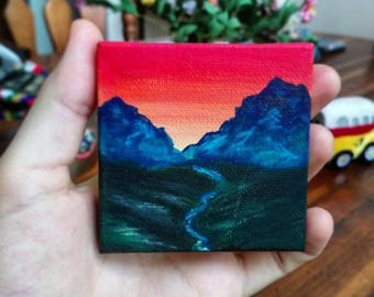 Sunset in the Alps | Mountain sunset acrylic painting | miniature canvas | by Jeni Hudson