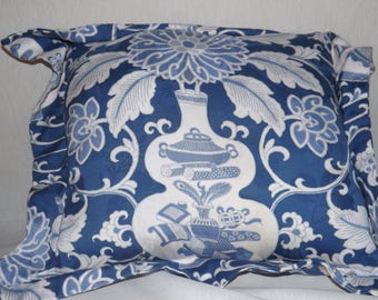 blue  knife  edge pillows with floral design