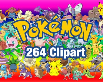 264 Pokemon ClipArt - Digital , PNG, image, picture,  oil painting, drawing,llustration, art , birthday,handicraft 300 DPI, 300 PPI