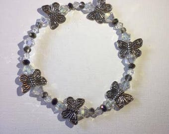 Black and Crystal Butterfly Bracelet