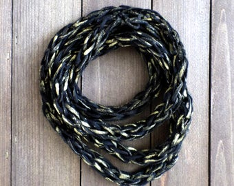 chunky textile necklace · golden necklace  · infinity necklace  · cotton necklace  · chain necklace  · modern