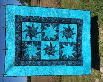 Twisted Stars in BLUES Lap Quilt