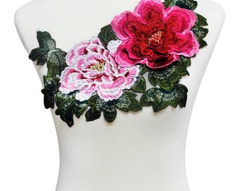 1piece 3D Big Peony Lace Embroidery Applique Pacthes Lace Fabric Motif Scrapbooking Clothes Decorated Sewing Accessories T1994