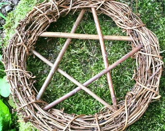 12inches in diameter. Pentacle Wreath, Hand Crafted from Willow.
