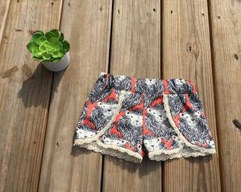 Coral Lion Lace Trimmed Scallop Shorts
