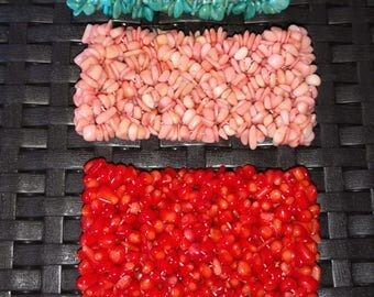 Red, Pink/Peach Coral and Turquoise Multi Strand Chip Bracelets