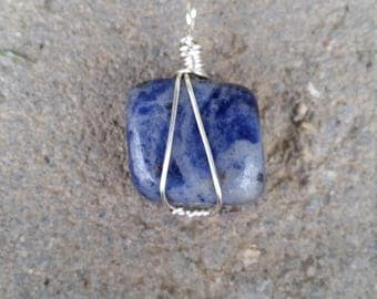Wire wrapped sodalite pendent