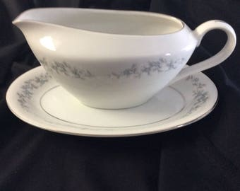 """Gravy boat with underplate """"FORGET ME NOT""""    Japan"""