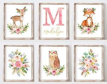 Woodland Nursery Decor, Woodland  Watercolor Nursery Prints, Animal Wall Art, Woodland Animal Art Set of 6 DIY Printable
