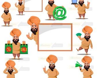 80% off Promo sale,Pratap Singh clipart  – Full Body Character Design digital clipart set,clipart commercial use, vector graphics