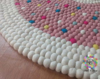 Felt Ball Rugs / Baby Girl Nursery pom pom rug (Free Shipping)