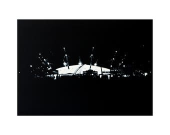 O2 Arena, Greenwich London- Giclee print from original painting. Trending; Black & White art by Lubna Speitan
