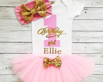 Pink and Gold First Birthday Outfit, Girls First Birthday Outfit, Pink Tutu, First Birthday Outfit Girl, Personalized First Birthday