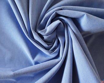 Poly Cotton Chambray Fabric - Light Blue