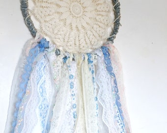 Boho dream catcher vintage lace cottage chic shabby chic Wall hanging decor ribbons doily dream catcher ivory blue pink nursery decor