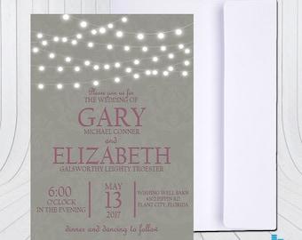 Light String Wedding Invitation