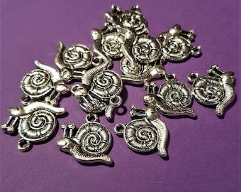 Antiqued Silver 3D Snails