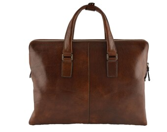 Genuine Leather A4 Briefcase with 2 compartments