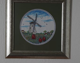 Framed Needle Work Wall Decor Picture 32 x 32 cm  Windmill