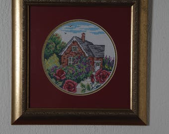 Framed Needle Work Wall Decor Picture 33x33 cm  Village House