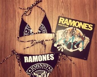 Handmade Ramones Punk Teekini Bikini