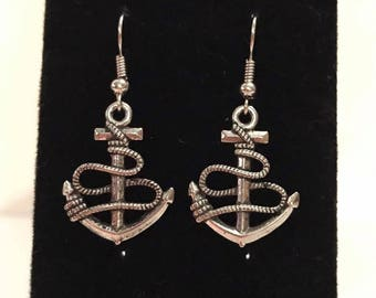 Anchor silver plated earrings