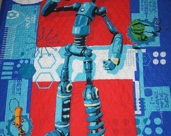 "Robot Quilt machine quilted red, white and blue   35""X62""."